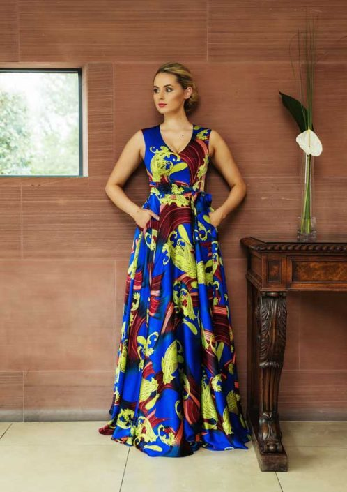 Sapphire and lime printed silk satin full length gown
