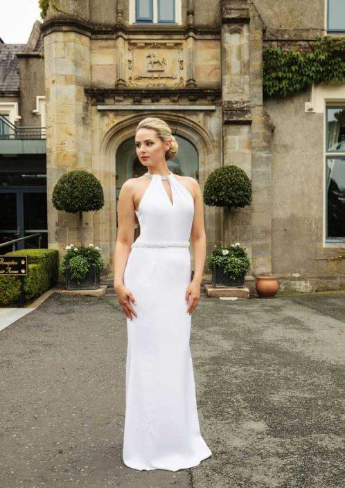White silk crepe full length wedding dress