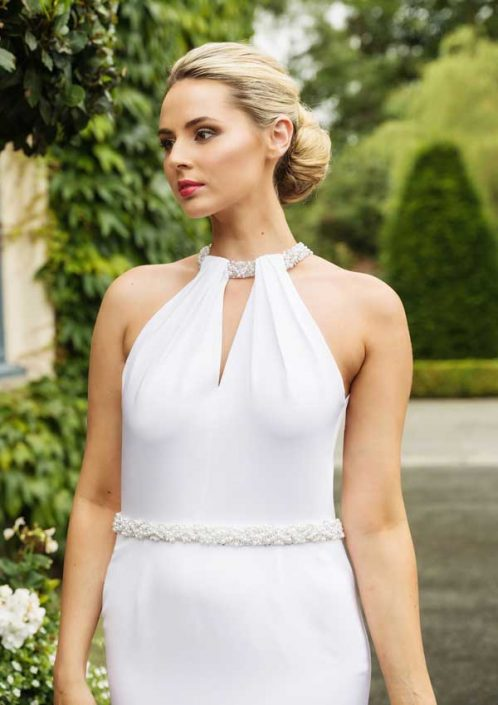 White treble weight silk crepe straight cut bridal-gown