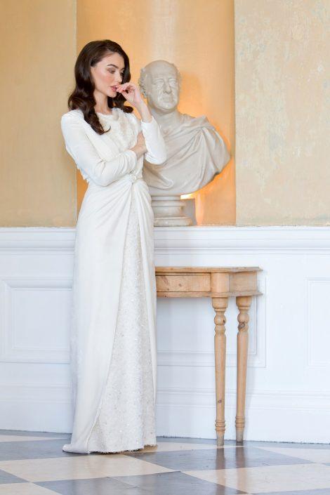 sample wedding dress for sale Ivory Silk Velvet Coat with Silk Bridal Gown Size 8-10 €750